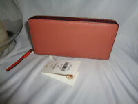 TORY BURCH PERRY COLOR-BLOCK ZIP CONTINENTAL WALLET TRAMONTO PORT LEATHER CLUTCH