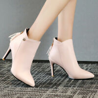 Women Ankle Boots Leather Pointed Toe Zip Tassel High Heel Winter Booties Shoes