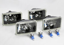 "FOUR 4x6"" Halogen H4 Glass Black Chrome Headlights Conversion Bulbs Oldsmob"