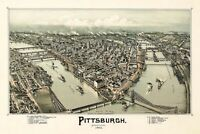 MAP PITTSBURGH PENNSYLVANIA 1902 LARGE WALL ART PRINT POSTER PICTURE LF2618