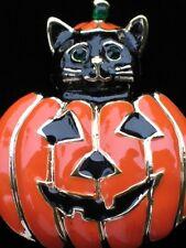 FUN HAPPY HALLOWEEN JACK-O-LANTERN BLACK CAT KITTEN PUMPKIN PIN BROOCH JEWELRY