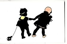 CO05. Vintage Postcard. Silouette of two children and their toys.