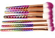 6Pc Multi Colour Honeycomb Design Unicorn Makeup Brush Set