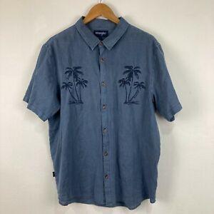 Wrangler Mens Button Up Shirt Size L Large Blue Palm Tree Short Sleeve 227.13