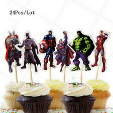 24 Pcs Avengers SUPERHEROS IRONMAN  SUPERMAN Marvel CUPCAKE CAKE TOPPERS Party