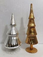 """2 12"""" & 14"""" Silver & Gold Glass Tiered Christmas Tree Shape Tabletop Finials"""