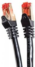 Duronic Black 1m CAT6a FTP Professional Gold Headed Shielded Network Cable - /