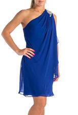 JS BOUTIQUE ~ Blue Draped Chiffon Jewel Shoulder Shift Party Dress 4 NEW $129
