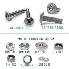 Linsenschrauben FLANSCH ISO 7380 - 2 M3 M4 M5 M6 M8  ISK oder TORX EDELSTAHL V2A