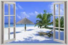 Cheap 3D Window view Exotic Beach Wall Sticker Film Mural Art Decal 84