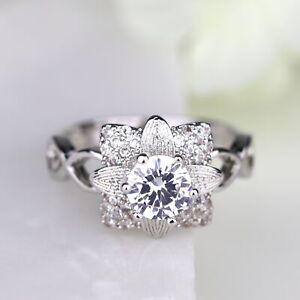 Cherry Flower Ring White Gold Silver Women Engagement Ring Floral Ring 109