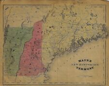 """McNally Map - """"MAINE, NEW HAMPSHIRE, VERMONT"""" - Colored Lithograph - 1865"""