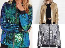 Womens Sequin Glitter Bomber Jacket Top Biker Festival Clubbing Party Club Wear