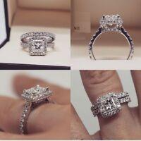 solid 14k white gold cushion cut 2ct diamond bridal set engagement ring band set