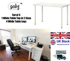 GABZ Fiberboard White Table Top with 4 Steel White Legs for Home/Office/Gaming
