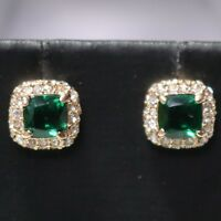 Vintage Antique Green Emerald Stud Earrings Women Jewelry 14K Rose Gold Plated