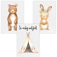 3er Set Wandbilder Baby Kinderzimmer Poster W15 Sei mutig & stark Bär Tipi Hase