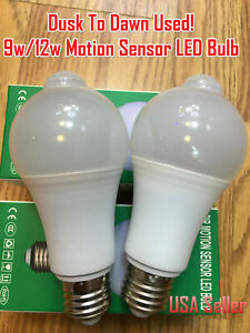 Indoor/Outdoor Motion Sensor Light Bulb Motion Activated LED Dusk to Dawn 9W 12W