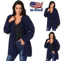 Women's Knitted Cardigan Sweater Long Sleeve Jacket Casual Coat Outwear Tops US
