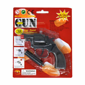 8 Ring Revolver Shot Cap Gun Diecast Metal Replica Silencer Pistol Police Prop