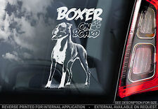 Boxer Dog - Car Window Sticker - Sign Art Print On Board Standing German - TYP2