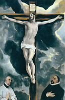 """Oil painting El Greco - the crucifixion Jesus on the cross with two donors 36"""""""
