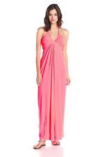 MISA LA Anya Sexy Sleeveless V Neck Slinky Halter Jersey Pink Maxi Dress XS $207