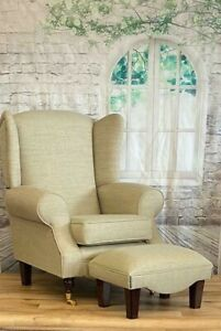 Queen Anne Wing Back Cottage Fireside Chair & footstool Beige Weave Fabric