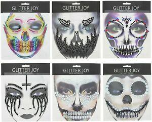 Halloween Scary Spooky Face Gems Body Glitter Stickers Tattoo Rhinestone Jewels