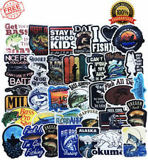 Go Fishing Stickers Pack 50-Pcs Decal for Trucks Boats Cars Laptops Fish Decals