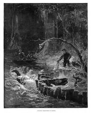 Catching Alligators in Florida - Antique Print 1884