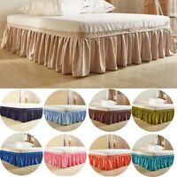 16 Solid Color Elastic Bed Skirt Dust Ruffle Easy Fit Twin Queen King US Size