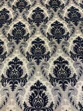 Navy Silver Gieneda Chenille Damask Print upholstery furniture fabric