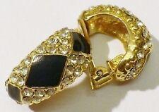 boucles d'oreilles clips bijou vintage coul or émail noir cristaux diamant  4494