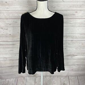 J. Crew Womens Velvet Blouse Top Size 8 Black Long Sleeve Button Shoulder