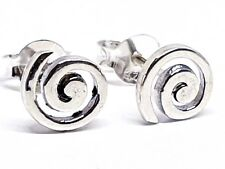 Spiral Stud Earrings 925 Sterling Silver Round Boxed 7mm Approx Swirls