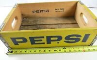 Nice Vintage Pepsi Wood Crate Case, Yellow w/Blue Type, A.W.P. Cases