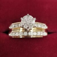 1.50Ct Round Diamond Bridal Set Wedding Engagement Ring 14k Yellow Gold Over