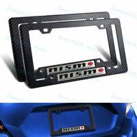 2 PC NISMO Car Emblem w/ Carbon Look ABS License Plate Frame for Nissan GTR 350Z