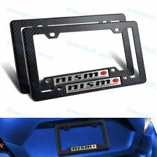 2 PC NISMO Car Emblem w/ Carbon Look ABS License Plate Frame for Nissan GTR 350Z