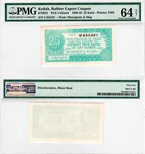 FMS Kedah Rubber Export Coupon 25 Katis KNB22 (1938-42) PMG 64 NET