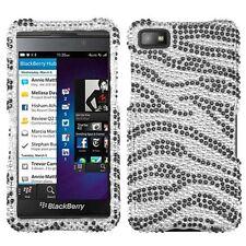 Black Zebra Skin Diamante Phone Protector Cover Case for BlackBerry Z10