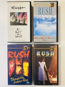 RUSH Band Vintage Music VHS bundle x4 'Grace Under Pressure' 'A Show of Hands'