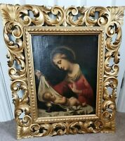 Italian Renaissance Old Master Madonna Jesus Christ 1800's Antique Oil Painting