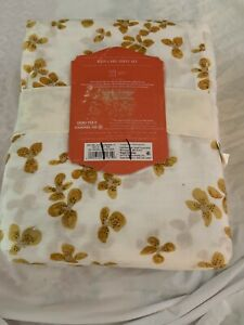 Opalhouse Easy Care 3p Sheet Set XL Twin White Gold Yellow Tossed Buds New