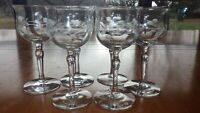 Vintage Etched Cordial Glasses Liqueur stems glasses floral etched 6 3 oz 1960s