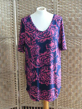 Dress Ladies Next Size 14 Blue/Pink Floral 100% Viscose Material Good Condition