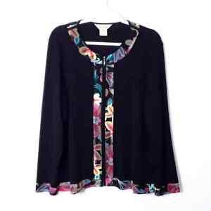 Misook Black Zip Up Cardigan Sweater - size XL, VGUC! Ottoman Knit Floral *flaw
