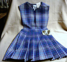 Nwt Girls Size 6 Gray & Blue School Uniform Pleated V-Neck Jumper Becky Thacker