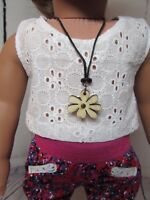Wood Flower Necklace Sized For American Girl Doll, KNC & Other Similar Dolls